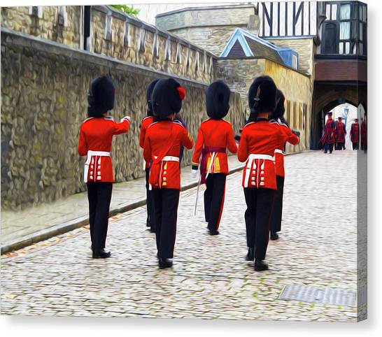 Tower Of London Canvas Print - Step Aside For The Tower Guard by Joe Schofield