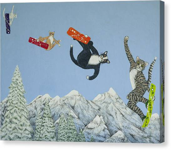 Snowboarding Canvas Print - Style And Ability by Pat Scott