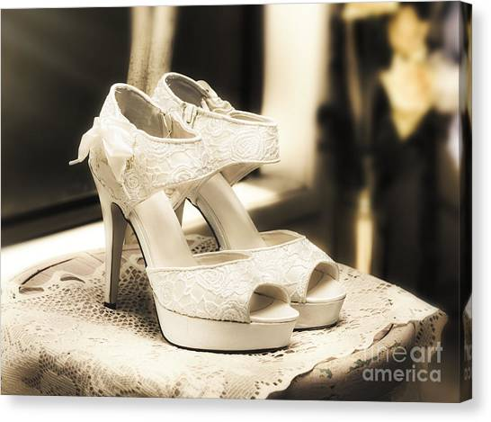 Bridal Canvas Print - Stylish And Elegant Bridal Shoes by Jorgo Photography - Wall Art Gallery