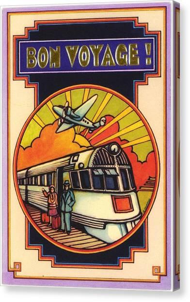 Prop Planes Canvas Print - Stylized Bon Voyage Vintage Poster by Gillham Studios