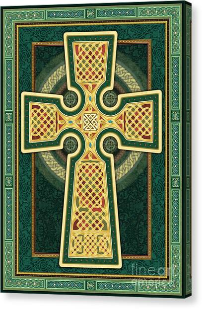 Stylized Celtic Cross In Green Canvas Print