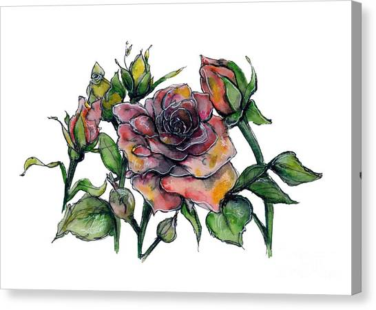 Canvas Print featuring the painting Stylized Roses by Lauren Heller