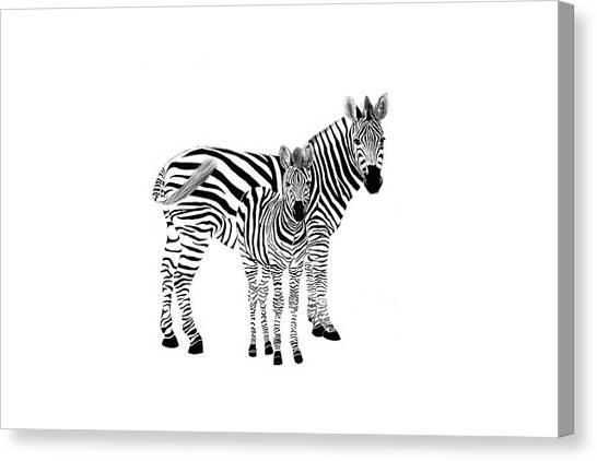 Stylized Zebra With Child Canvas Print
