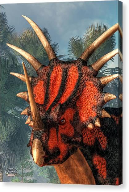 Triceratops Canvas Print - Styracosaurus Head by Daniel Eskridge