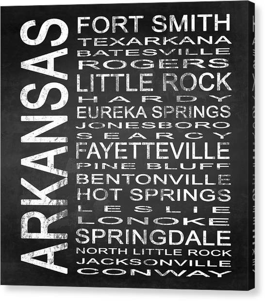 Words Canvas Print - Subway Arkansas State Square by Melissa Smith