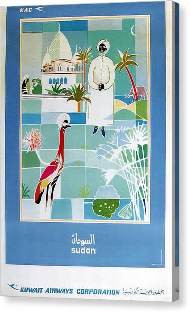 Emus Canvas Print - Sudan - Kuwait Airways Corporation - Kuwait - Retro Travel Poster - Vintage Poster by Studio Grafiikka