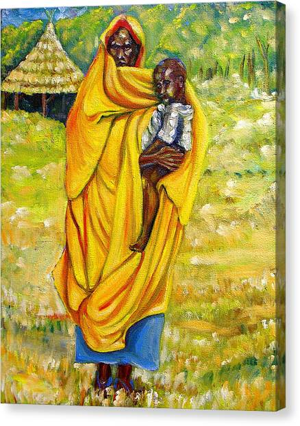 Sudanese Mother And Child Canvas Print by George Chacon