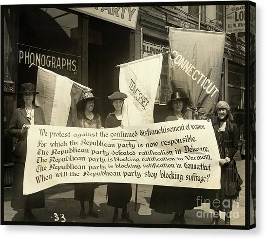 Womens Rights Canvas Print - Suffragettes Picketing The Republican Convention, Chicago, June 1920 by Tina Lavoie