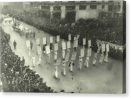 Womens Rights Canvas Print - Suffragists Marching In New York City by Padre Art