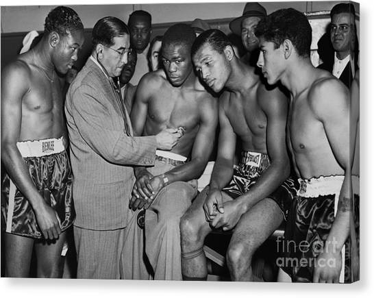 Sugar Ray Robinson And Others Go Through A Pre-fight Checkup. 1948 Canvas Print by Anthony Calvacca