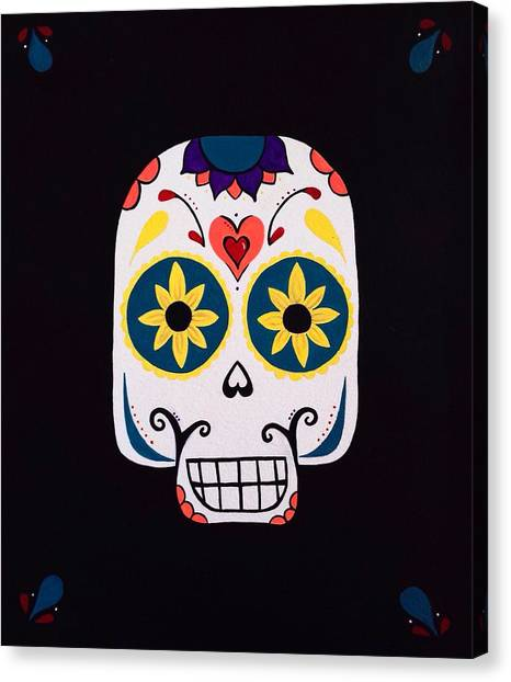 Halloween Canvas Print - Sugar Skull by Annie Walczyk