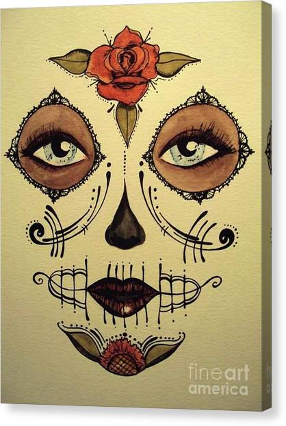 Dia Del Muerto Canvas Print - Sugared Rose  by Kelly Gannon