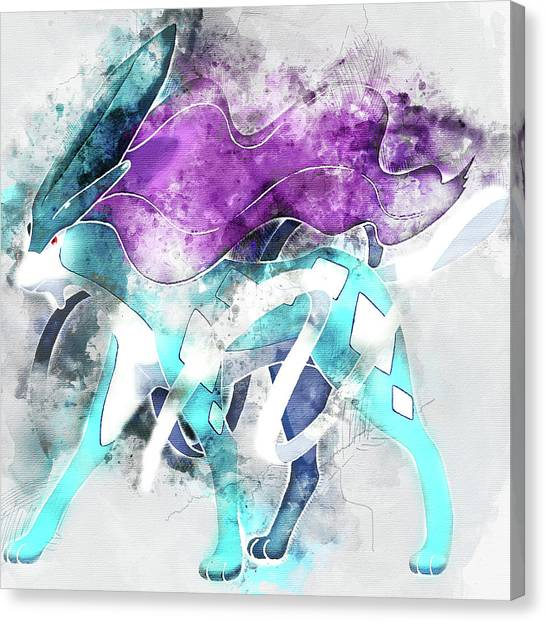 Pokemon Go Canvas Print - Pokemon Suicune Abstract Portrait - By Diana Van by Diana Van