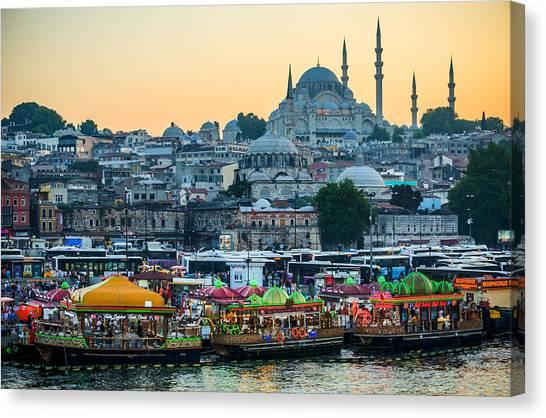 Suleymaniye Canvas Print - Suleymaniye Mosque At Dusk by Anthony Doudt
