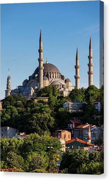 Suleymaniye Canvas Print - Suleymaniye Mosque In City Of Istanbul by Artur Bogacki