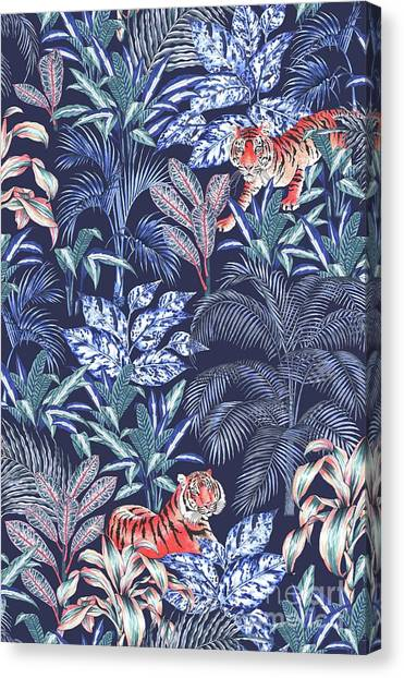 Repeat Canvas Print - Sumatran Tiger, Blue by Jacqueline Colley