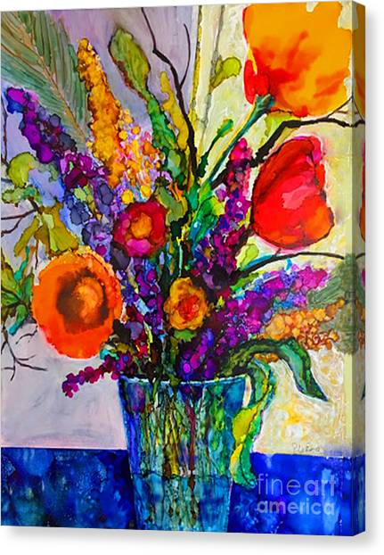 Canvas Print featuring the painting Summer Arrangement by Priti Lathia
