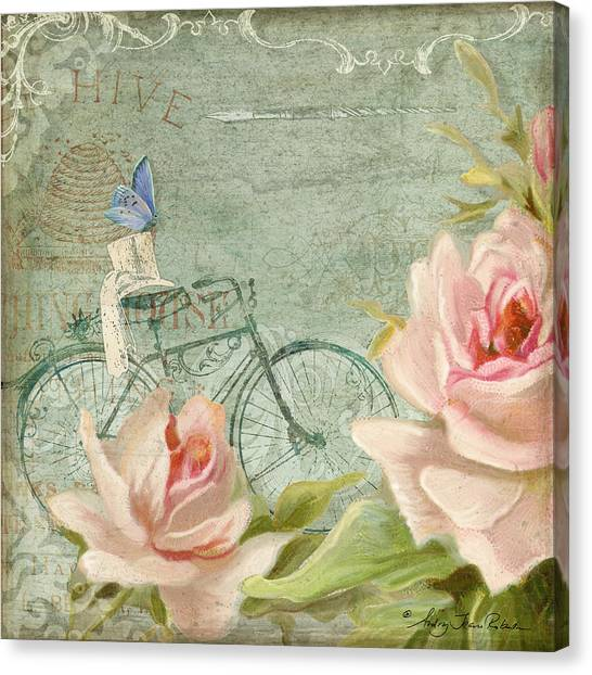 Victorian Garden Canvas Print - Summer At Cape May - Bicycle N Porch Roses by Audrey Jeanne Roberts