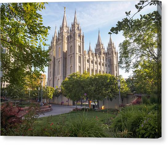 Summer At Temple Square Canvas Print
