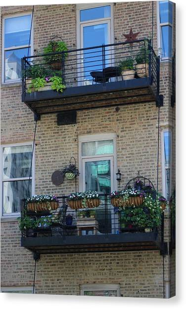 Summer Balconies In Chicago Illinois Canvas Print