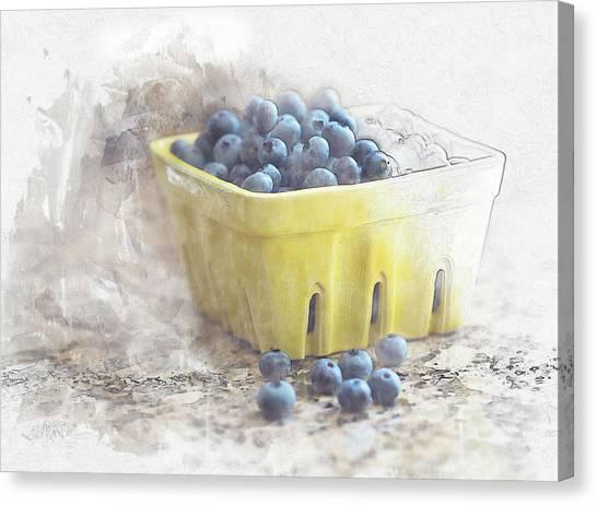 Canvas Print featuring the digital art Summer Blueberries by Sue Collura