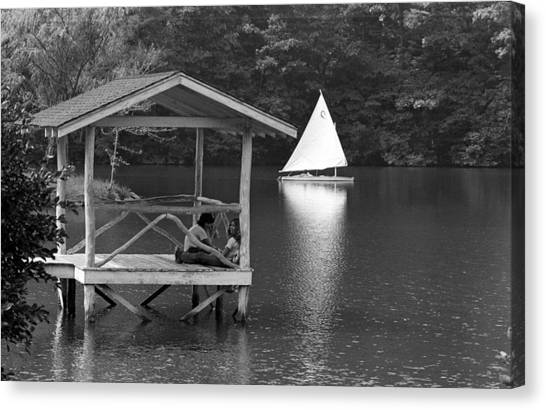 Summer Camp Black And White 1 Canvas Print