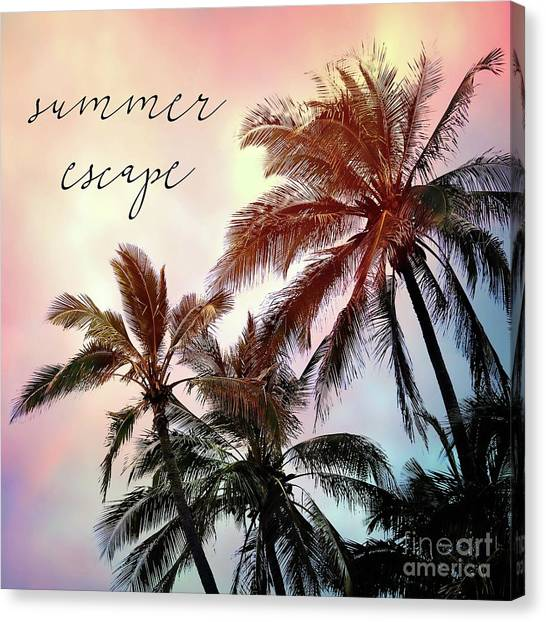 Palm Trees Sunsets Canvas Print - Summer Escape by Sylvia Cook