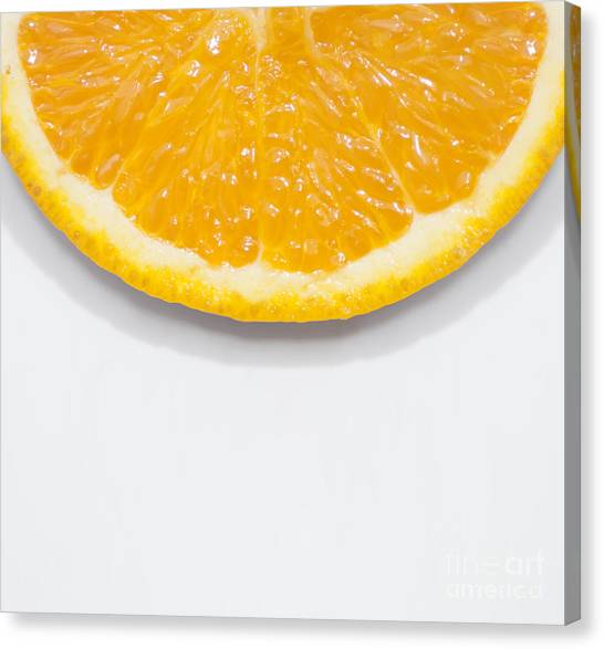 Orange Canvas Print - Summer Fruit Orange Slice On Studio Copyspace by Jorgo Photography - Wall Art Gallery