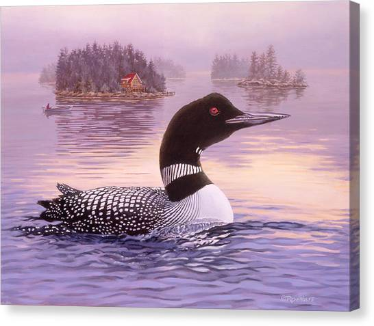 Loons Canvas Print - Summer Haze by Richard De Wolfe