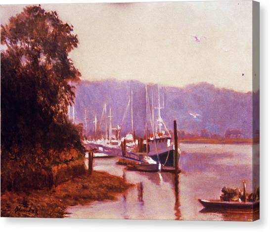 Summer Heat  Long Island Port Canvas Print by David Olander