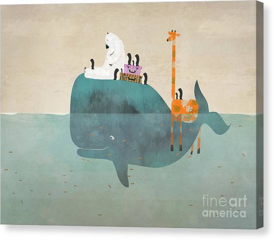 Blue Whales Canvas Print - Summer Holiday by Bri Buckley
