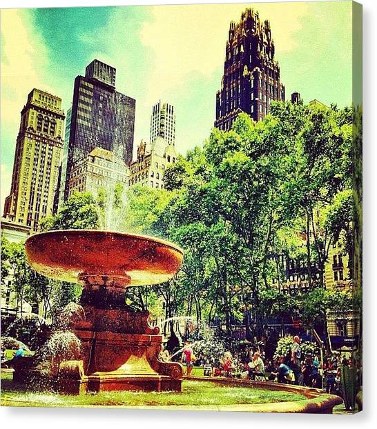 Times Square Canvas Print - Summer In Bryant Park by Luke Kingma