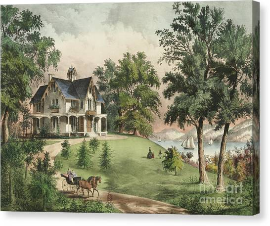 Currier And Ives Canvas Print - Summer In The Highlands, 1867 by Currier and Ives