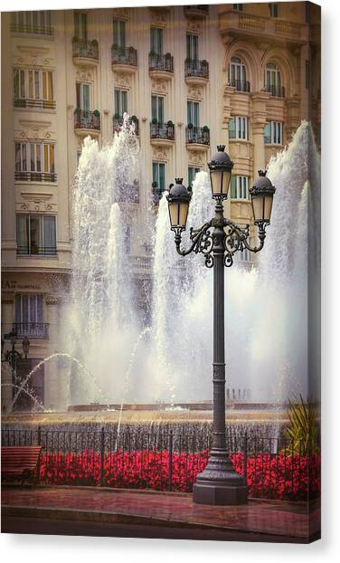 Streetlight Canvas Print - Summer In Valencia Spain  by Carol Japp