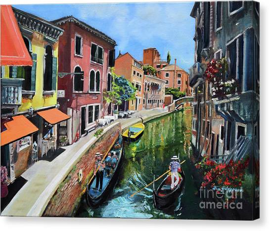 Canvas Print featuring the painting Summer In Venice - Venezia - Dreaming Of Italy by Jan Dappen