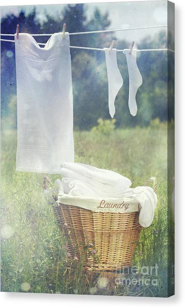 Summer Laundry Drying On Clothesline Canvas Print