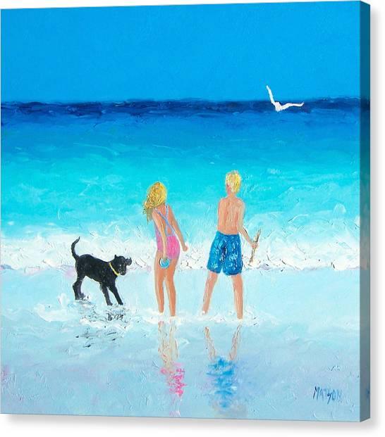 Children And Dog Canvas Print - Summer Memories by Jan Matson