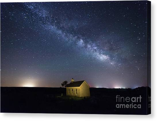 Summer Milky Way At The Lower Fox Creek School Canvas Print
