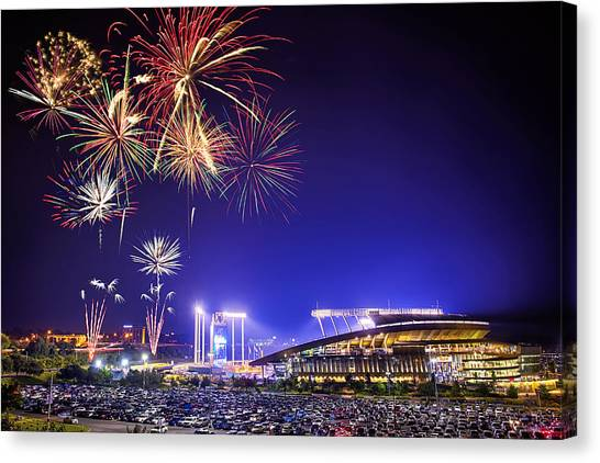 Fireworks Canvas Print - Summer Nights At The K by Thomas Zimmerman