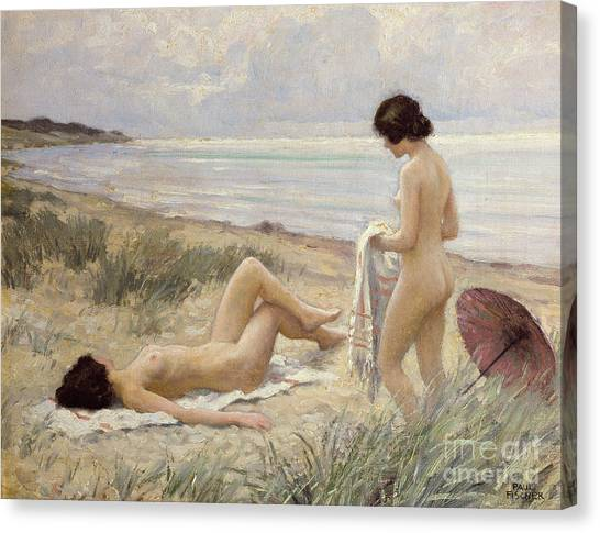 Erotic Canvas Print - Summer On The Beach by Paul Fischer