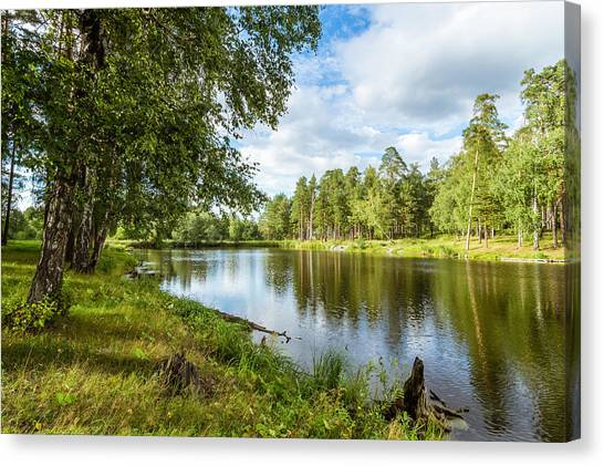Ural Mountains Canvas Print - summer pond in the woods, Ural Russia by Alex Rudny