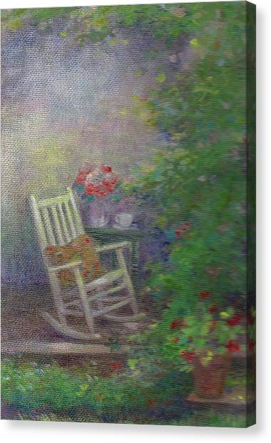 Canvas Print featuring the painting Summer Porch And Rocker by Judith Cheng