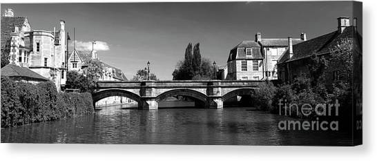 Stamford Bridge Canvas Print - Summer, River Welland Stone Road Bridge, Stamford Meadows, Georg by Dave Porter