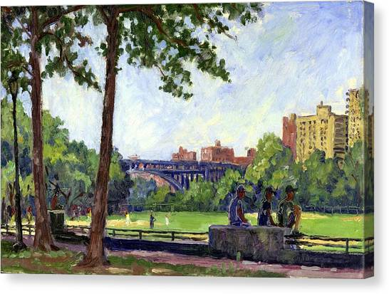 Summer Shade Baseball Fields At Inwood Nyc 8x12 Plein Air Impressionist Oil On Panel Canvas Print