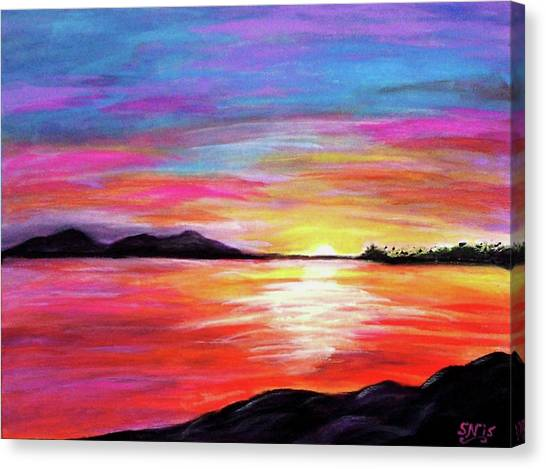 Canvas Print featuring the painting Summer Sunrise by Sonya Nancy Capling-Bacle