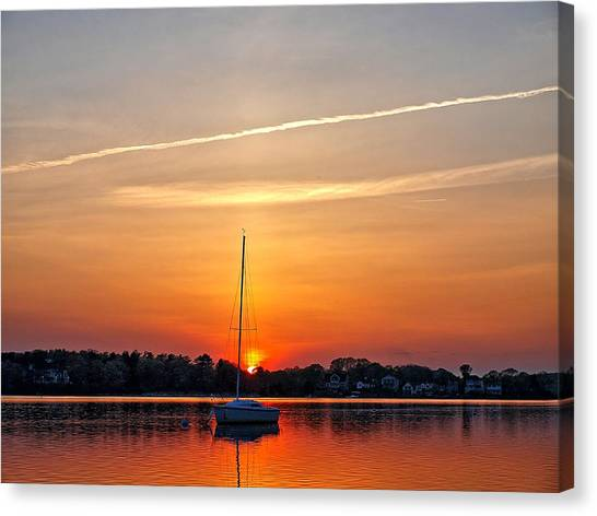 Summer Sunset At Anchor Canvas Print