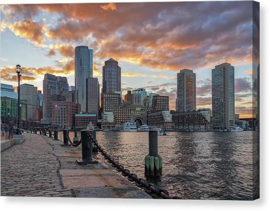 Summer Sunset At Boston's Fan Pier Canvas Print