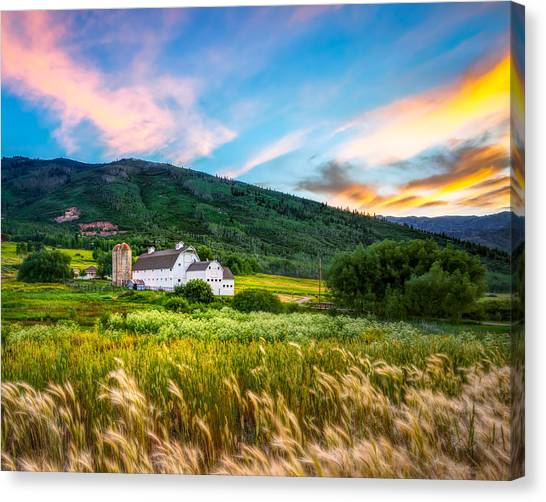 Summer Sunset At Park City Barn Canvas Print