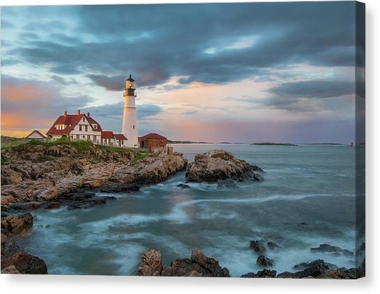 Summer Sunset At Portland Head Light Canvas Print