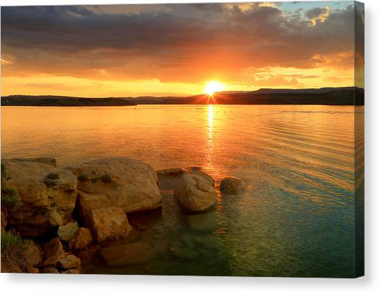 June Lake Canvas Print - Summer Sunset At Starvation Reservoir. by Johnny Adolphson